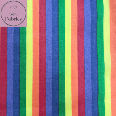 Rainbow Print Polycotton Fabric, Childrens Novelty Material, Pride