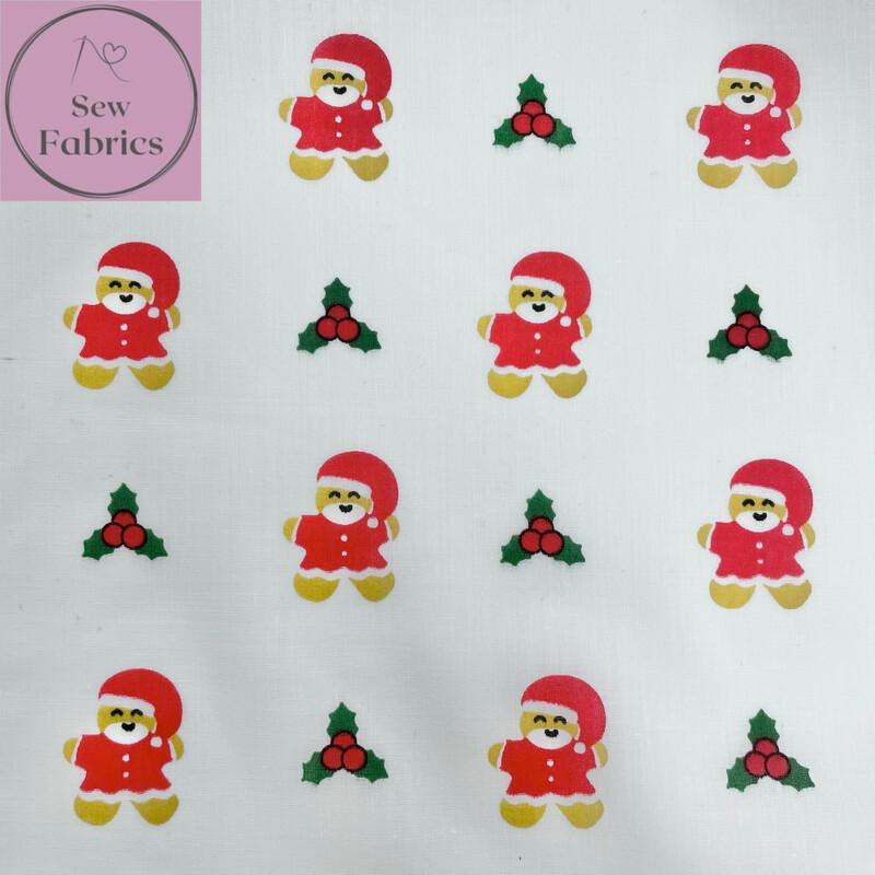 1 mtr x White Christmas Gingerbread Man Santa Novelty Print Polycotton Fabric Xmas, Festive Material