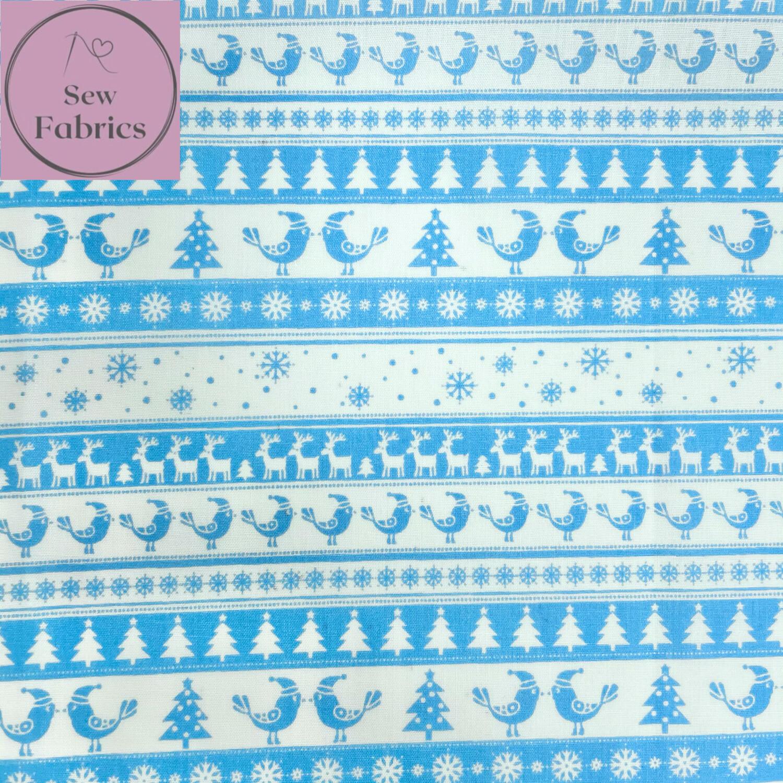 1 mtr x Blue Christmas Theme Printed Polycotton Fabric Xmas, Christmas Tree, Reindeer, Snowflakes, Festive Material