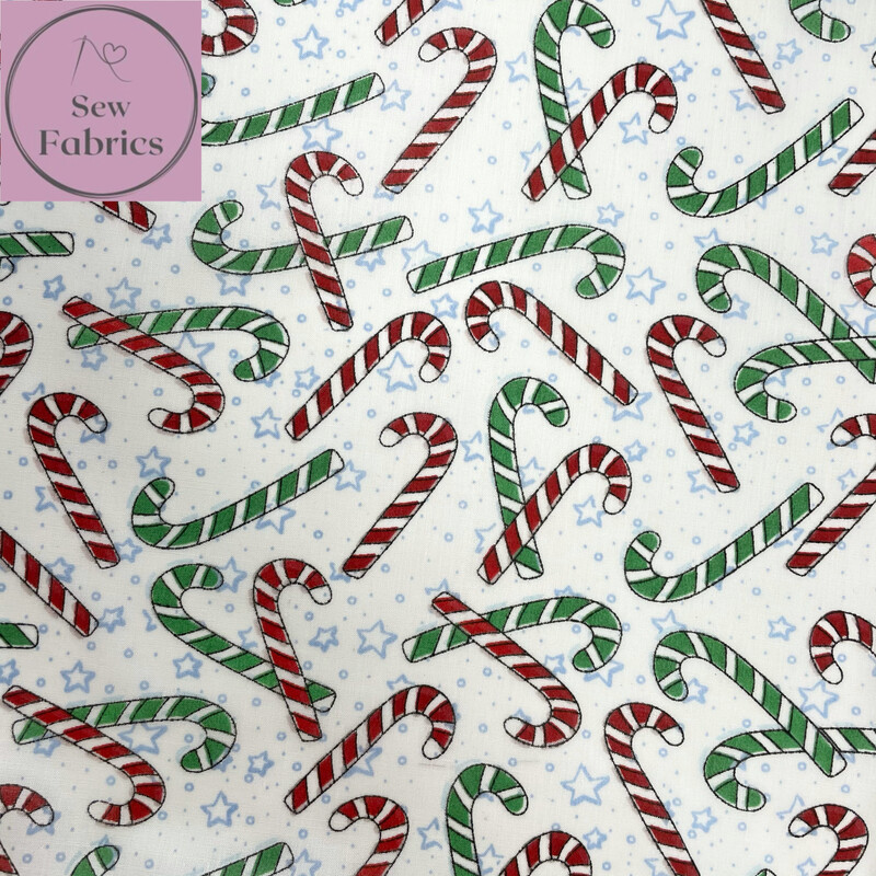 1 mtr x White Candy Cane Christmas Print Polycotton Fabric, Novelty Festive Xmas Material