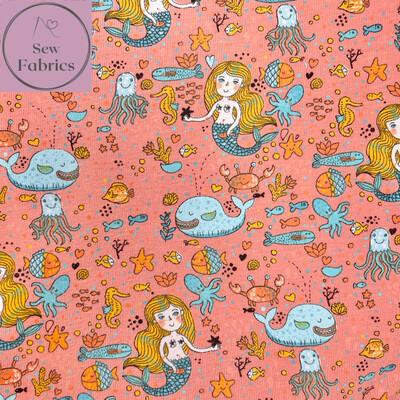 Peach Glow in the Dark Mermaid Sea Cotton Elastane Jersey Fabric, Dress, Children's