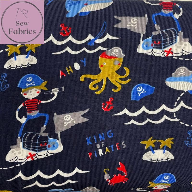 John Louden Organic Cotton, Navy King of Pirates Digital Printed Cotton Elastane Jersey Fabric, Dress, Children's
