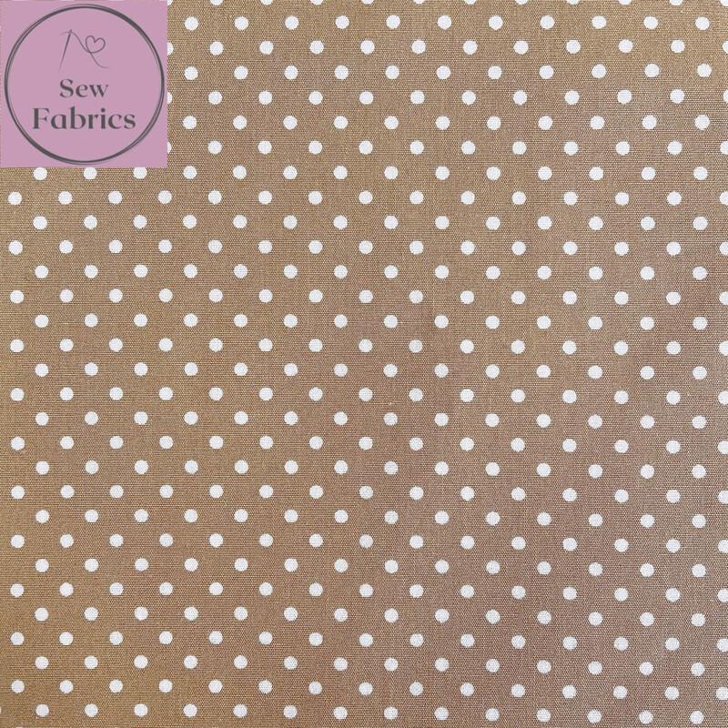 Rose and Hubble Tan Polka Dot Fabric 100% Cotton Poplin Spot Geometric Material