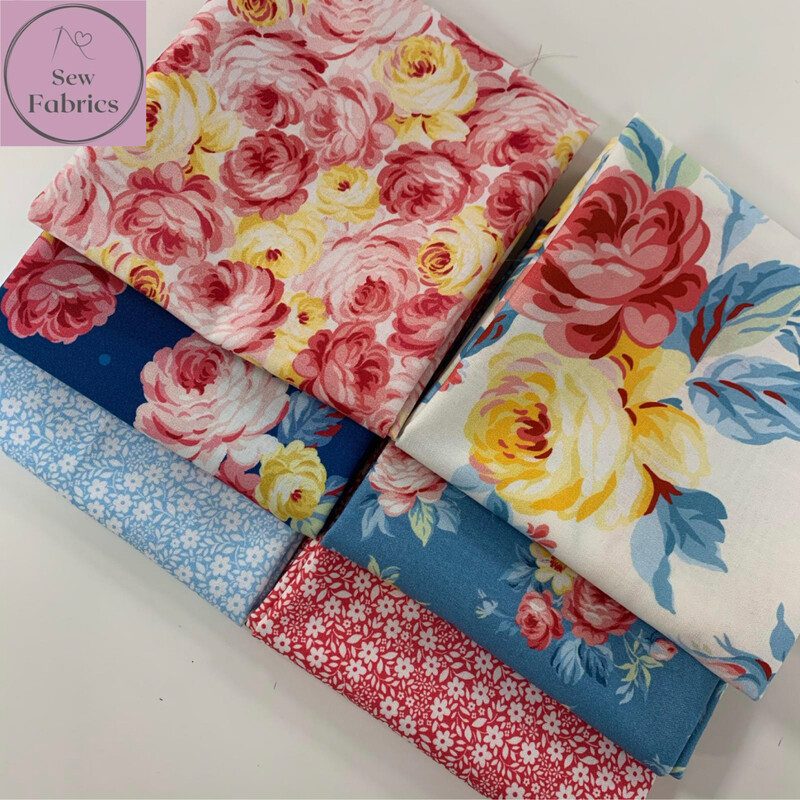 Michael Miller Country Cottage Collection - 6 Fat Quarter Bundle, 100% Cotton Fabric, Dressmaking, Quilting, Home Soft Furnishings Floral Material