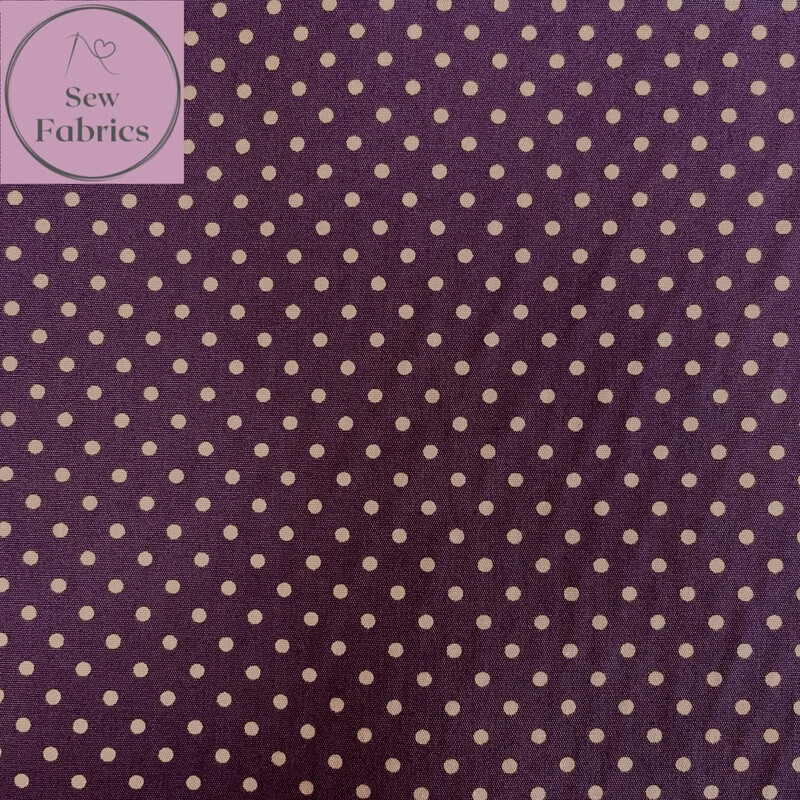 Rose and Hubble Plum Polka Dot Fabric 100% Cotton Poplin Spot Geometric Material
