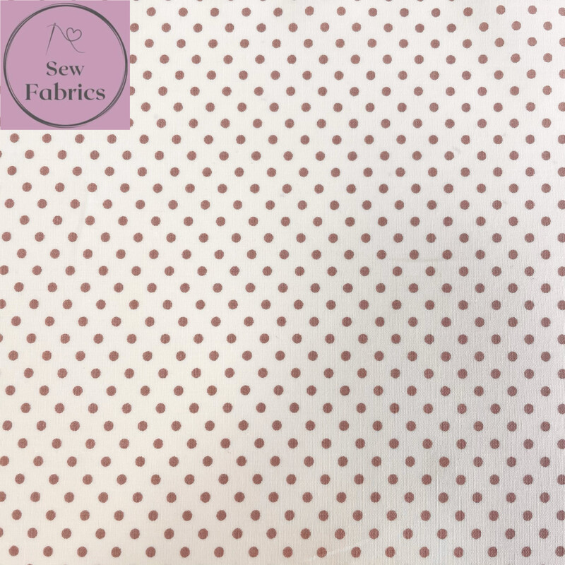 Rose and Hubble Tan on Ivory Background Polka Dot Fabric 100% Cotton Poplin Spot Geometric Material