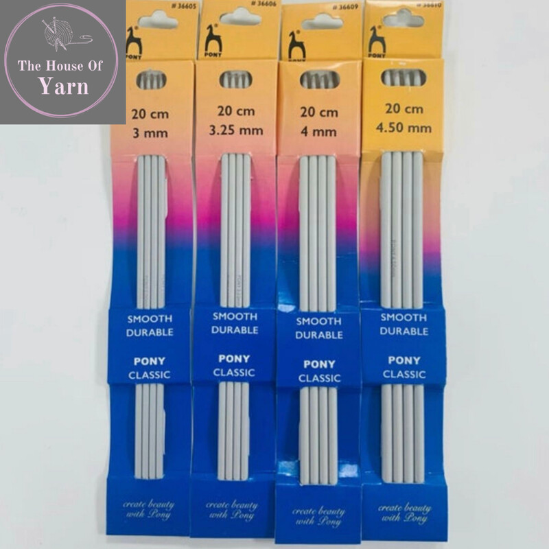 Pony 20cm Aluminium Double Ended Knitting Pins, Set of Four - Various Sizes