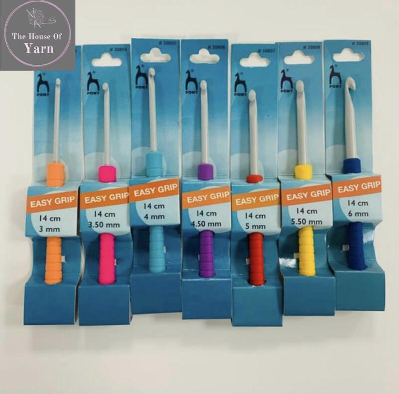 Pony Crochet Hooks 14cm Easy Grip - Various Sizes