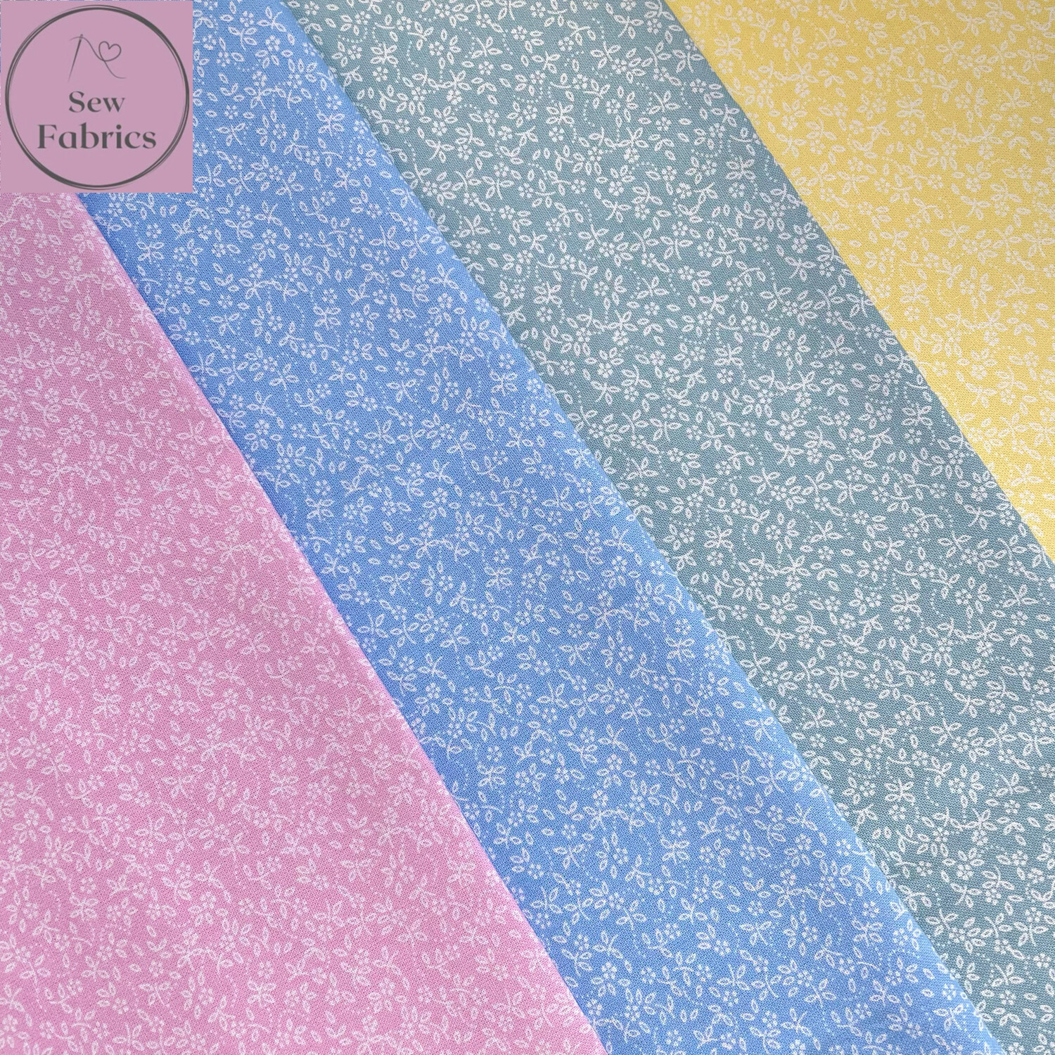 100% Craft Cotton Ditsy Daisy Fabric 4 x Fat Quarter Bundle, Pastel Spring Summer Quilting, Crafting, Floral