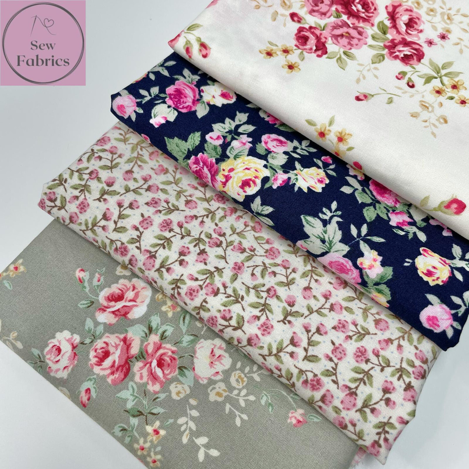 100% Cotton Poplin Rose and Hubble Floral 4 x Fat Quarter Bundle, Spring Summer Quilting, Crafting