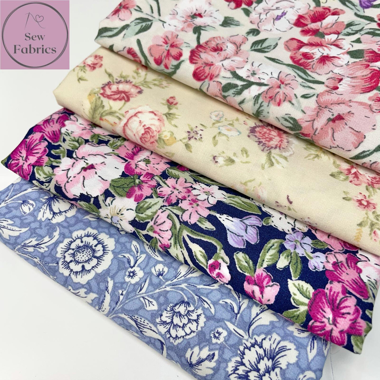 100% Cotton Poplin Rose and Hubble Large Floral 4 x Fat Quarter Bundle, Spring Summer Quilting, Crafting