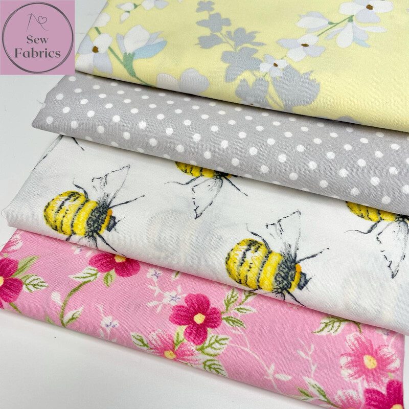 100% Cotton Poplin Rose and Hubble Floral Bee 4 x Fat Quarter Bundle, Spring Summer Quilting, Crafting