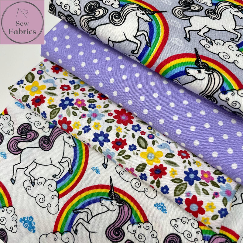 100% Cotton Poplin Rose and Hubble Unicorn Novelty 4 x Fat Quarter Bundle, Spring Summer Quilting, Crafting