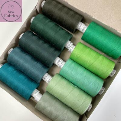 10 x 1000y Coats Moon Thread Box - Mixed Green Sewing Threads