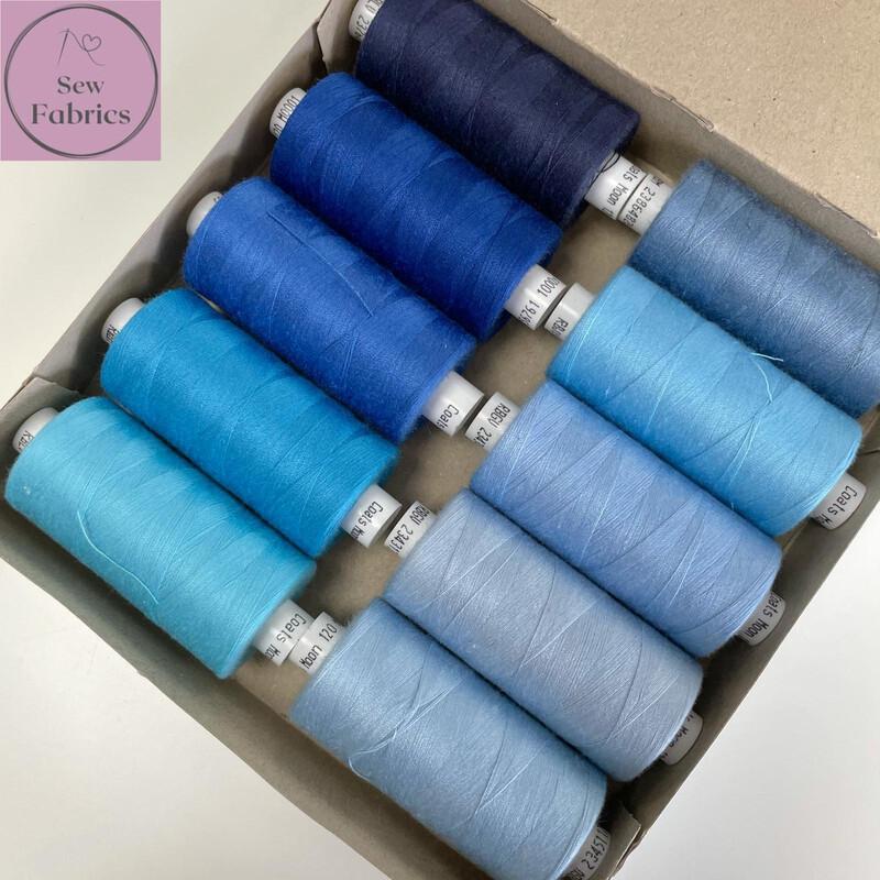 10 x 1000y Coats Moon Thread Box - Mixed Blue Sewing Threads