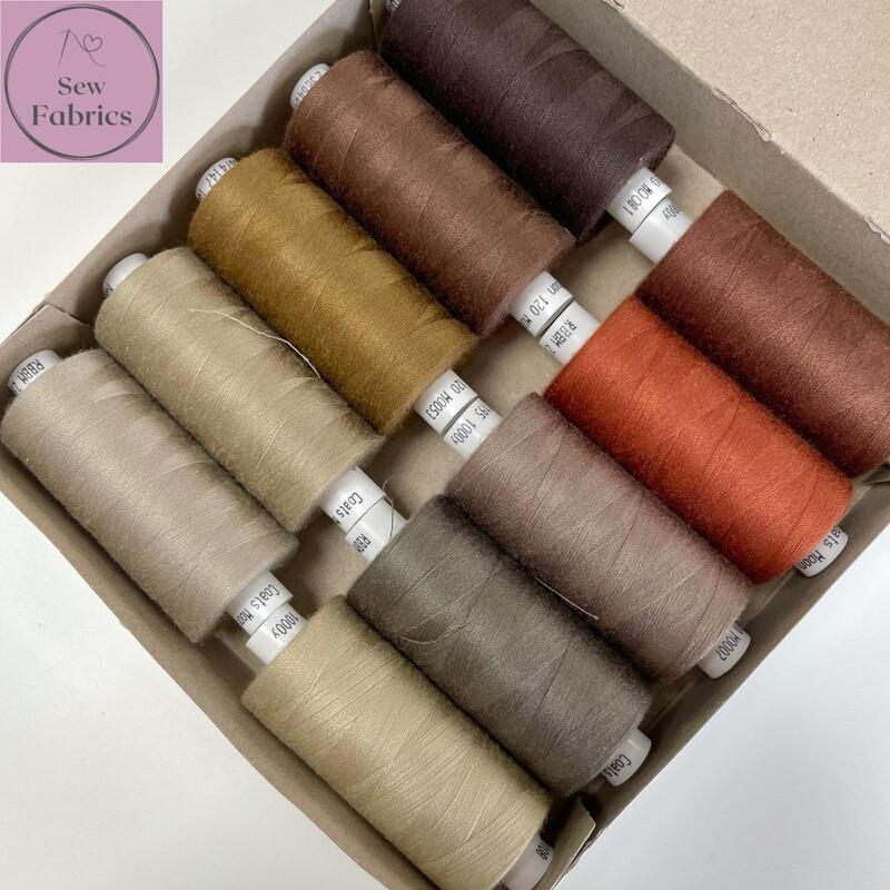 10 x 1000y Coats Moon Thread Box - Mixed Brown Sewing Threads