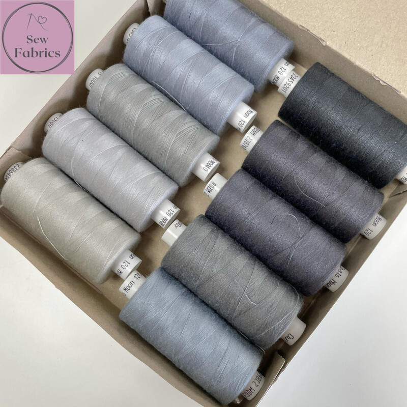 10 x 1000y Coats Moon Thread Box - Mixed Grey Sewing Threads