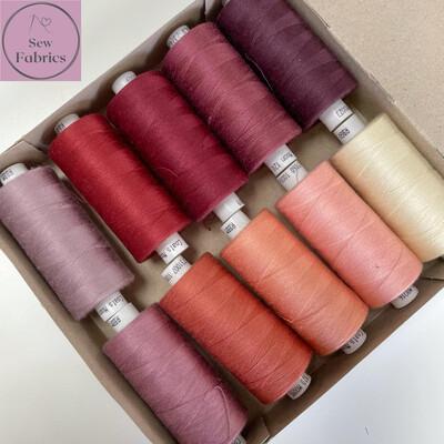 10 x 1000y Coats Moon Thread Box - Mixed Dusky Pink Sewing Threads