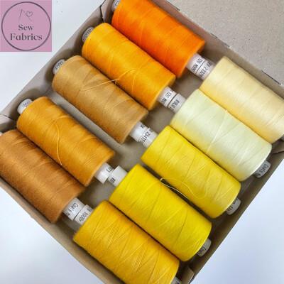10 x 1000y Coats Moon Thread Box - Mixed Yellow and Orange Sewing Threads