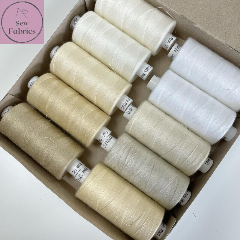 10 x 1000y Coats Moon Thread Box - Mixed Beige and Cream Sewing Threads