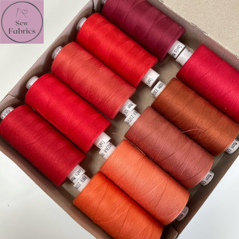 10 x 1000y Coats Moon Thread Box - Mixed Red Sewing Threads