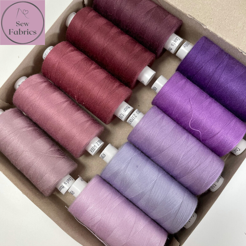 10 x 1000y Coats Moon Thread Box - Mixed Purple Sewing Threads