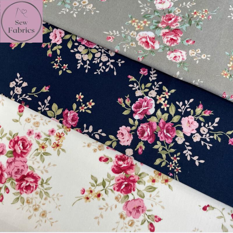 100% Cotton Poplin Floral Design 3 x Fat Quarter Bundle, Rose and Hubble