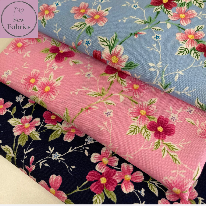 100% Cotton Poplin Floral Design 3 x Fat Quarter Bundle, Trailing Rose and Hubble