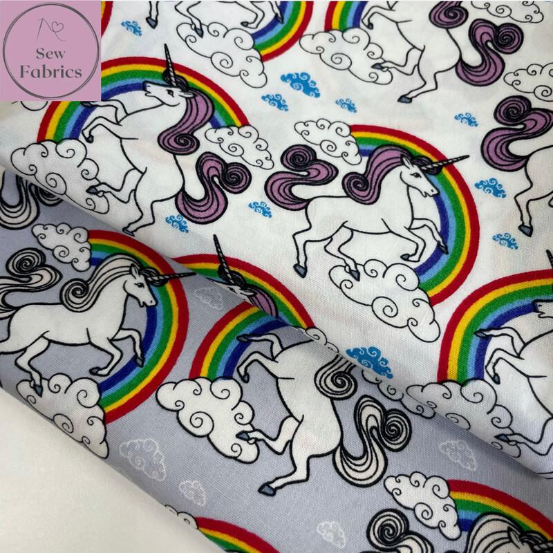 100% Cotton Poplin Unicorn Design  x Fat Quarter Bundle, Trailing Rose and Hubble