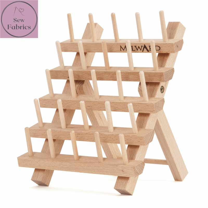 Milward Beech Wood Spool Holder, Holds 25 Reels of Thread, Display Stand with or without threads