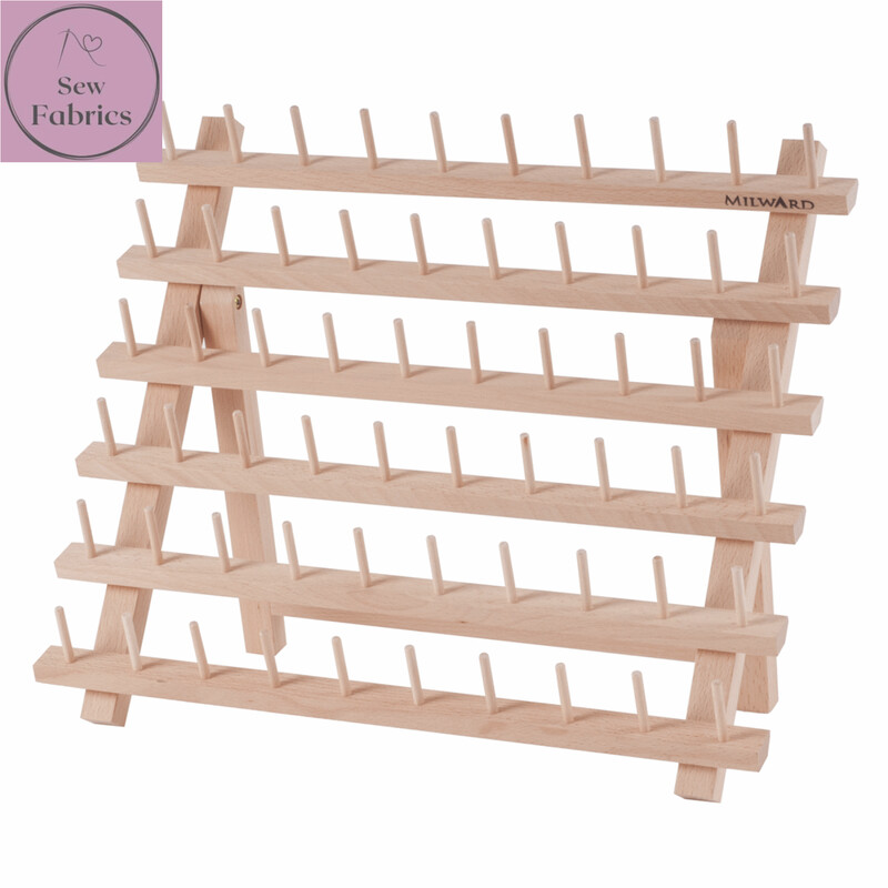 Milward Beech Wood Spool Holder, Holds 60 Reels of Thread, Display Stand with or without threads