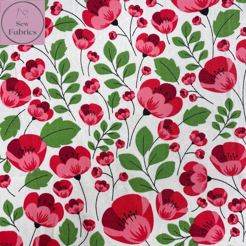Rose and Hubble Ivory Poppy Floral Fabric 100% Cotton Poplin, Poppy Flower Material