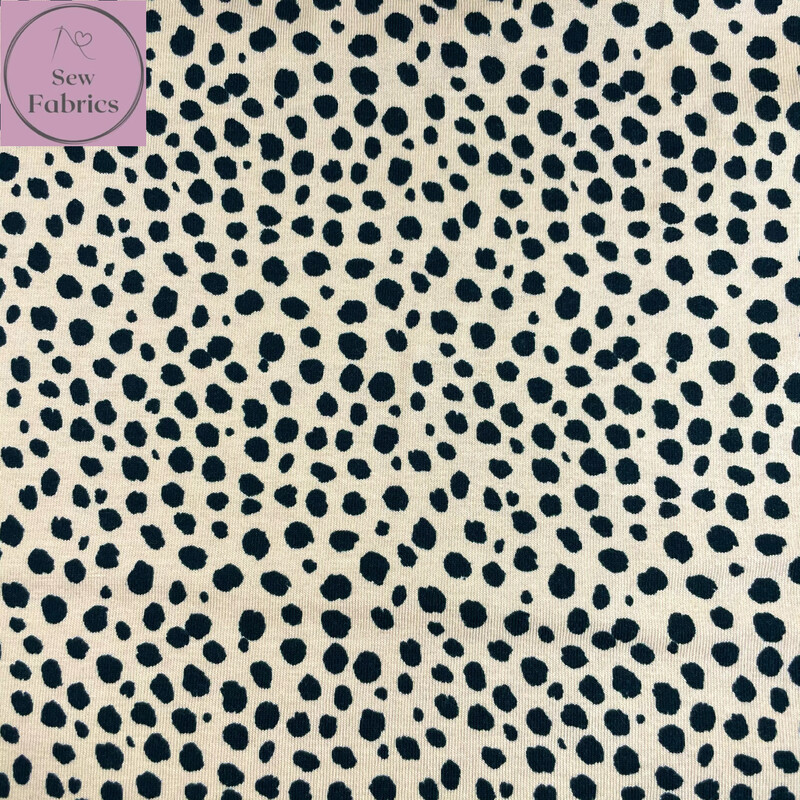 Beige Dalmation Printed Jersey Fabric, Dress, Animal Print Material