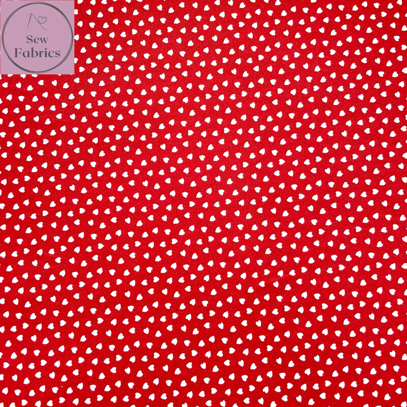 """Red Ditsy Heart Fabric 100% Cotton Poplin, 56""""/144cm Wide Width Love Heart Material"""
