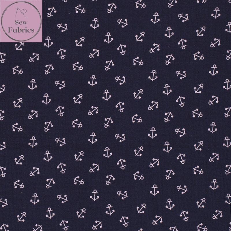 Navy Blue Anchors Double Gauze, 100% Cotton Muslin Fabric