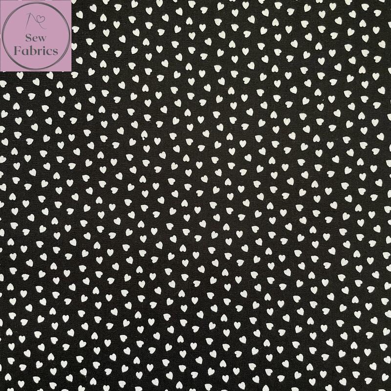 "Black Ditsy Heart Fabric 100% Cotton Poplin, 56""/144cm Wide Width Love Heart Material"