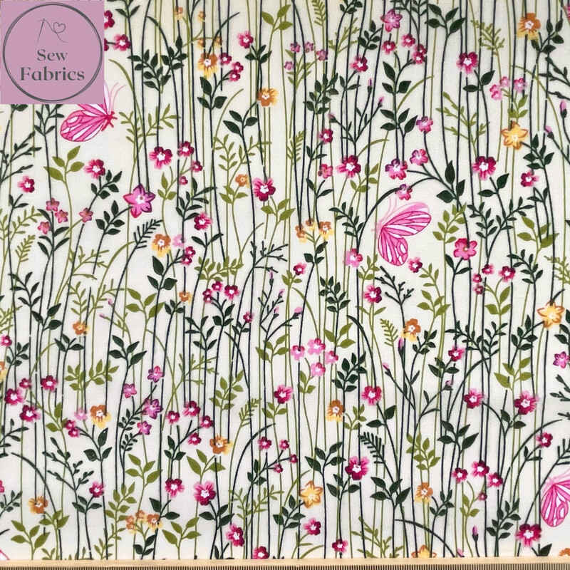 Cream Floral Field Print Polycotton Fabric, Floral Craft Material
