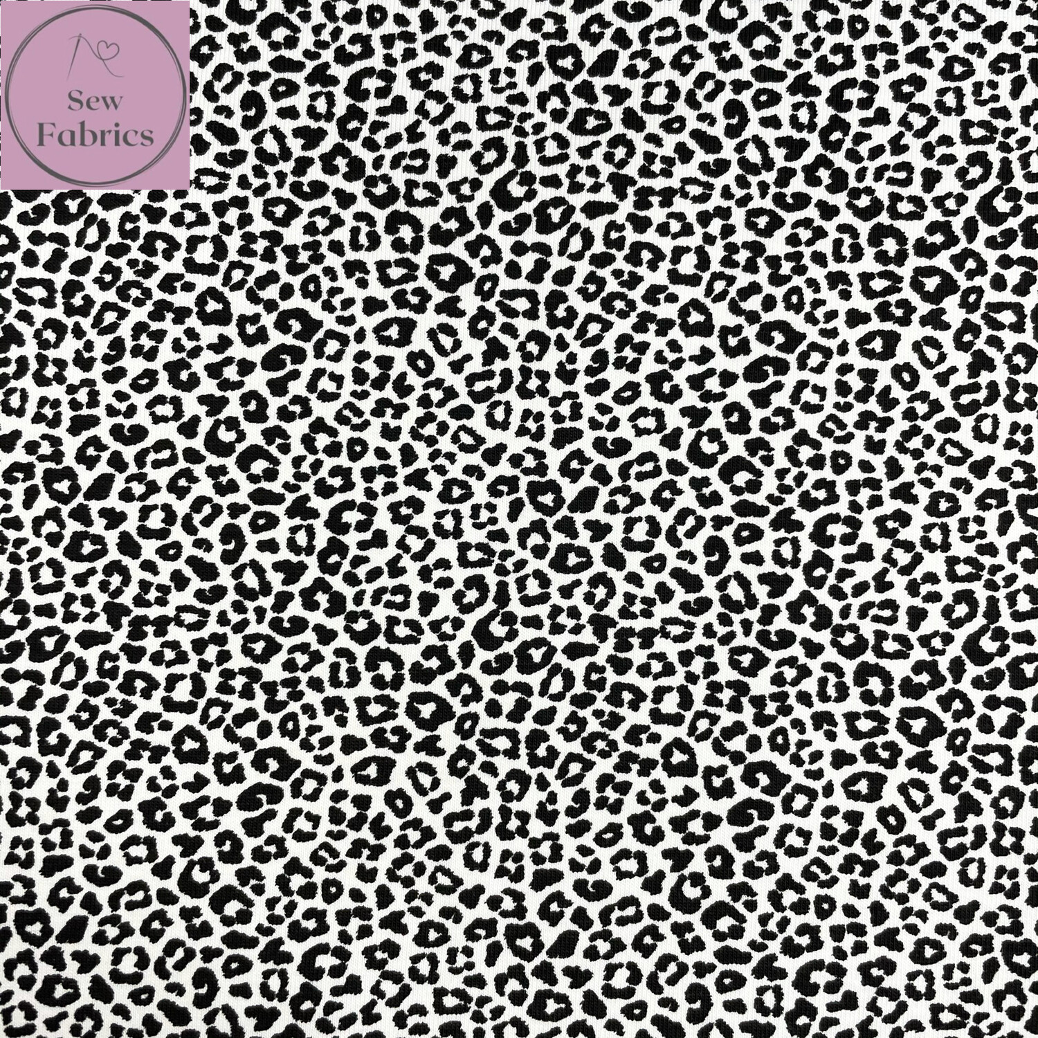Rose & Hubble White Leopard Print Cotton Jersey Fabric, Animal Print Material