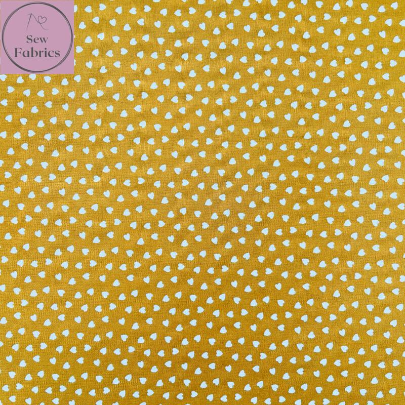 "Mustard Yellow Ditsy Heart Fabric 100% Cotton Poplin, 56""/144cm Wide Width Love Heart Material"