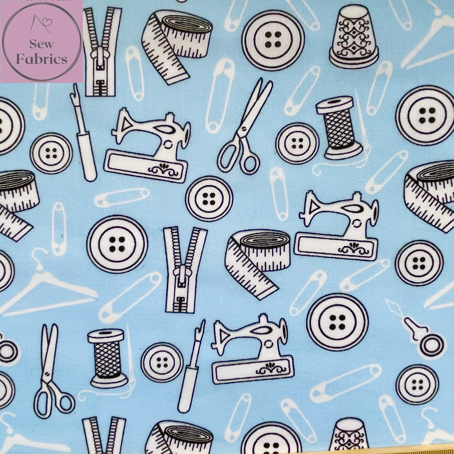 Sky Blue Sewing Print Polycotton Fabric, Fun Novelty Craft Material
