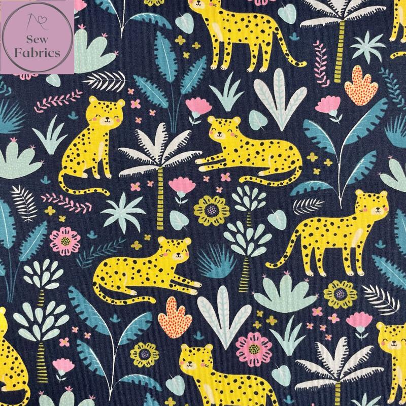 Navy Floral Cheetah Printed Jersey Fabric, Dress
