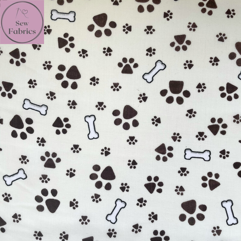 Cream Paws and Bones Print Polycotton Fabric, Novelty Craft Material