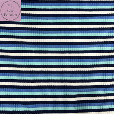 Blue Contrast Stripe Viscose Ribbing Jersey Fabric, Dress