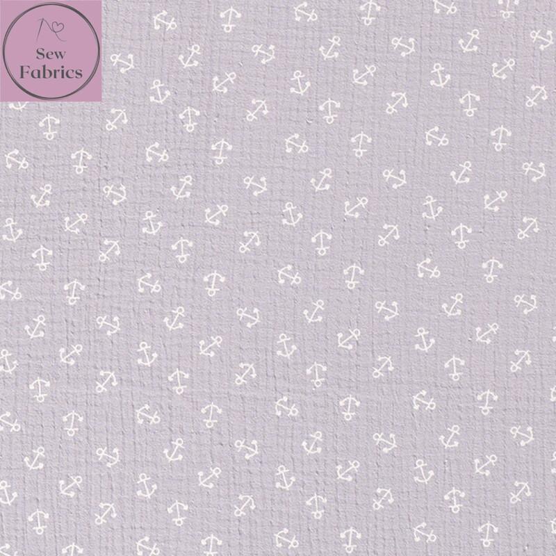 Grey Anchors Double Gauze, 100% Cotton Muslin Fabric
