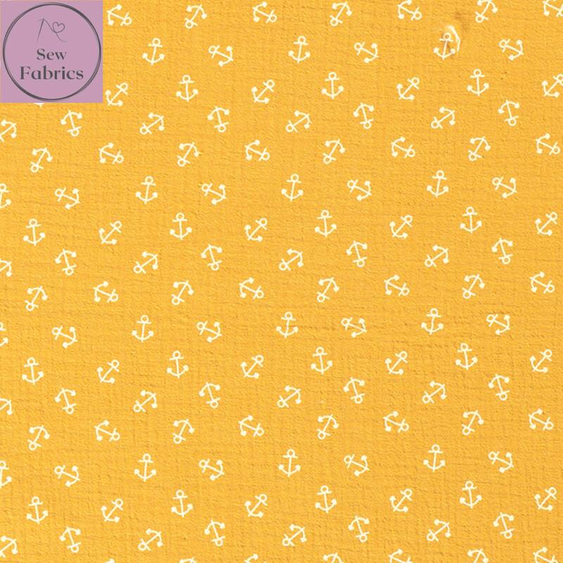 Mustard Yellow Anchors Double Gauze, 100% Cotton Muslin Fabric