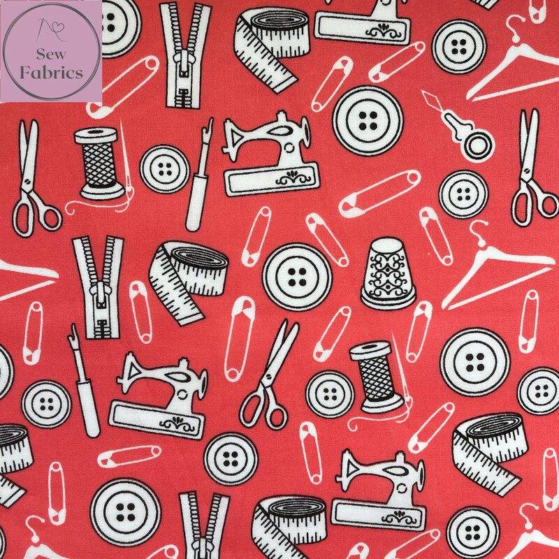 Candy Pink Sewing Print Polycotton Fabric, Fun Novelty Craft Material