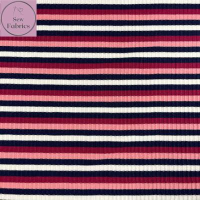 Pink Contrast Stripe Viscose Ribbing Jersey Fabric, Dress