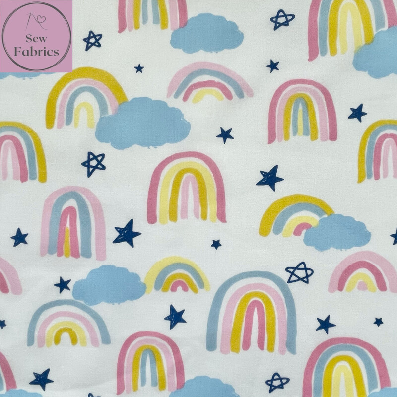 Pastel Rainbow Drawing Print Polycotton Fabric, Novelty Craft Material