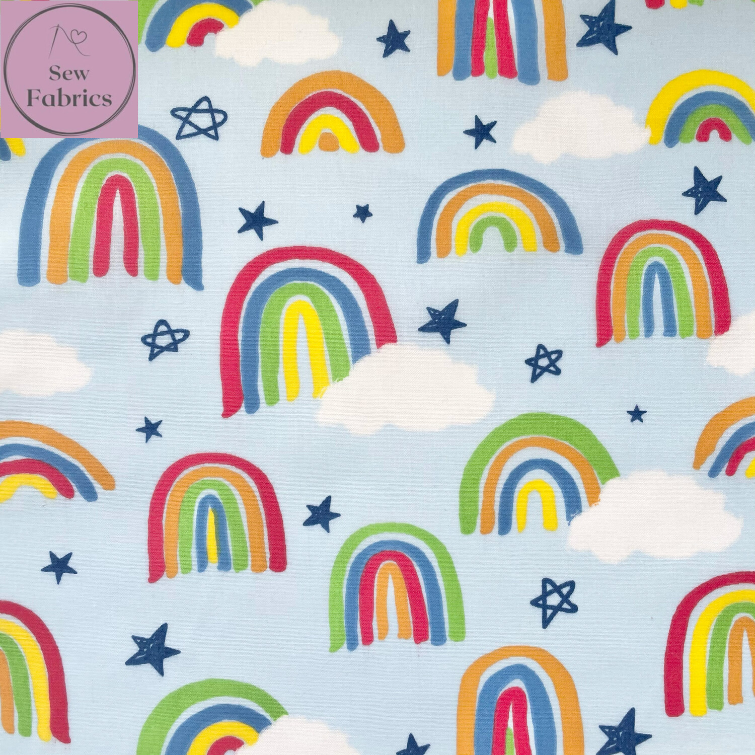 Sky Blue Rainbow Drawing Print Polycotton Fabric, Novelty Craft Material