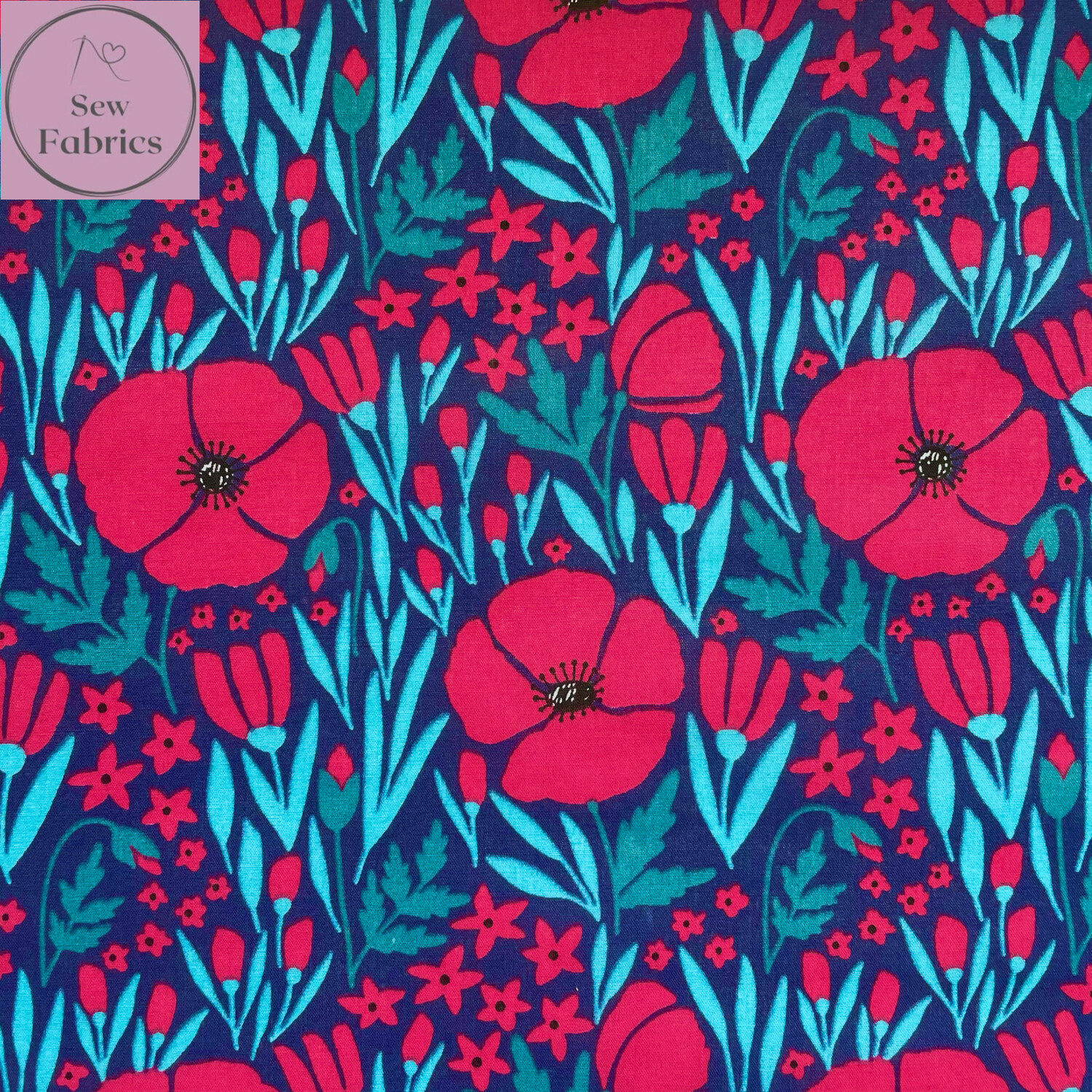 Navy Blue Poppy Field Print Polycotton Fabric, Floral Craft Material